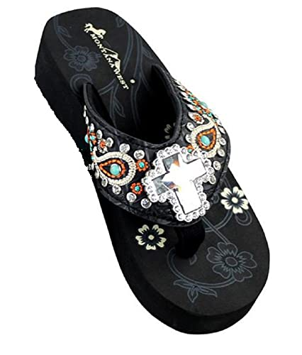 ad005325b Montana West Rhinestone Cross Paisley Flip Flops Sandals Black Turquoise  (10)