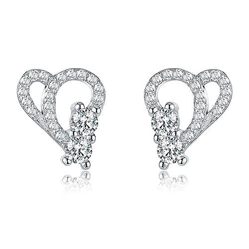 724248d3c AoedeJ Open Heart Stud Earrings 925 Sterling Silver Earrings Inlay CZ Stone  Girls and Women Earrings