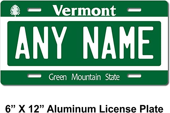 License Plate Vermont Wave 2 Green Mountain State Customizable 6 x 12 Aluminum Vanity License Plate