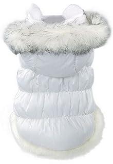 La vogue Chaqueta Acolchada Abrigo Para Perro Con Capucha Piel (Blanco, XS)