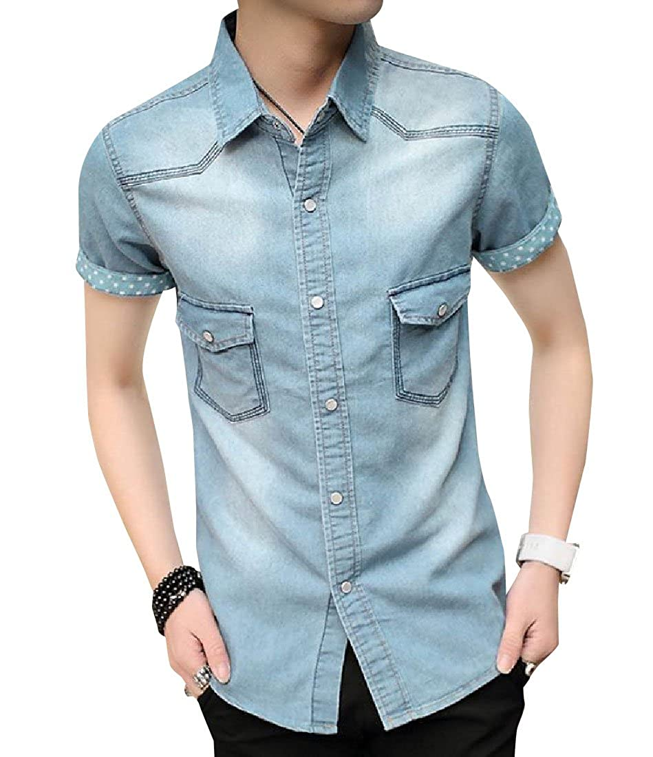 Vska Mens Regular Fit Summer Cool Short-Sleeve Cowboy Long Shirt