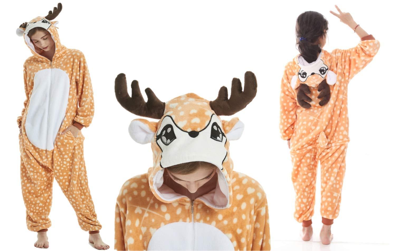 stella arcobaleno blu viola bianco Unicorn Panda Cat renna giraffa mucca corno bambini Onesie ragazze costume costume costume loungewear loungewear ragazze bambini (Età 8-10, Renna) Ecommerce Trade Ltd