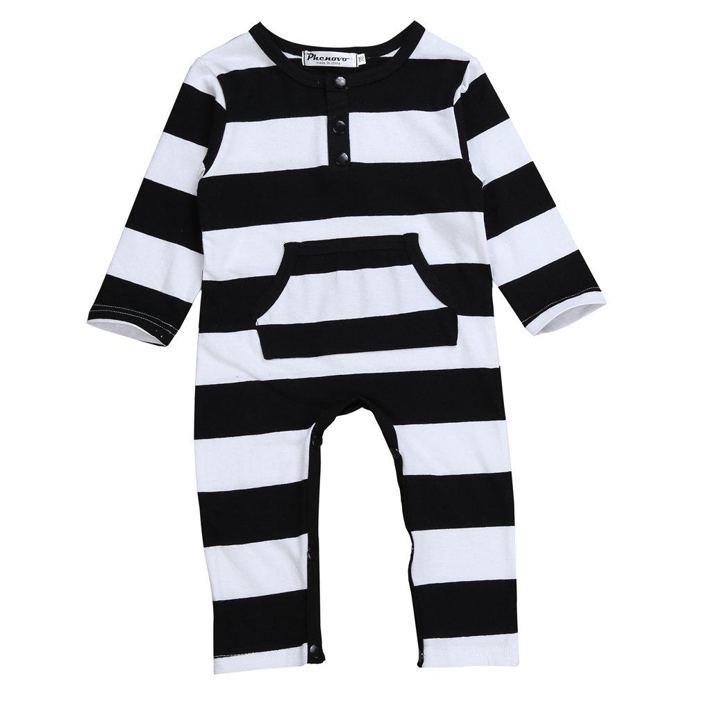Phenovo Unisex Baby Girl Boy Romper Cotton Outfits Onesies Stripe Long Sleeve Autumn