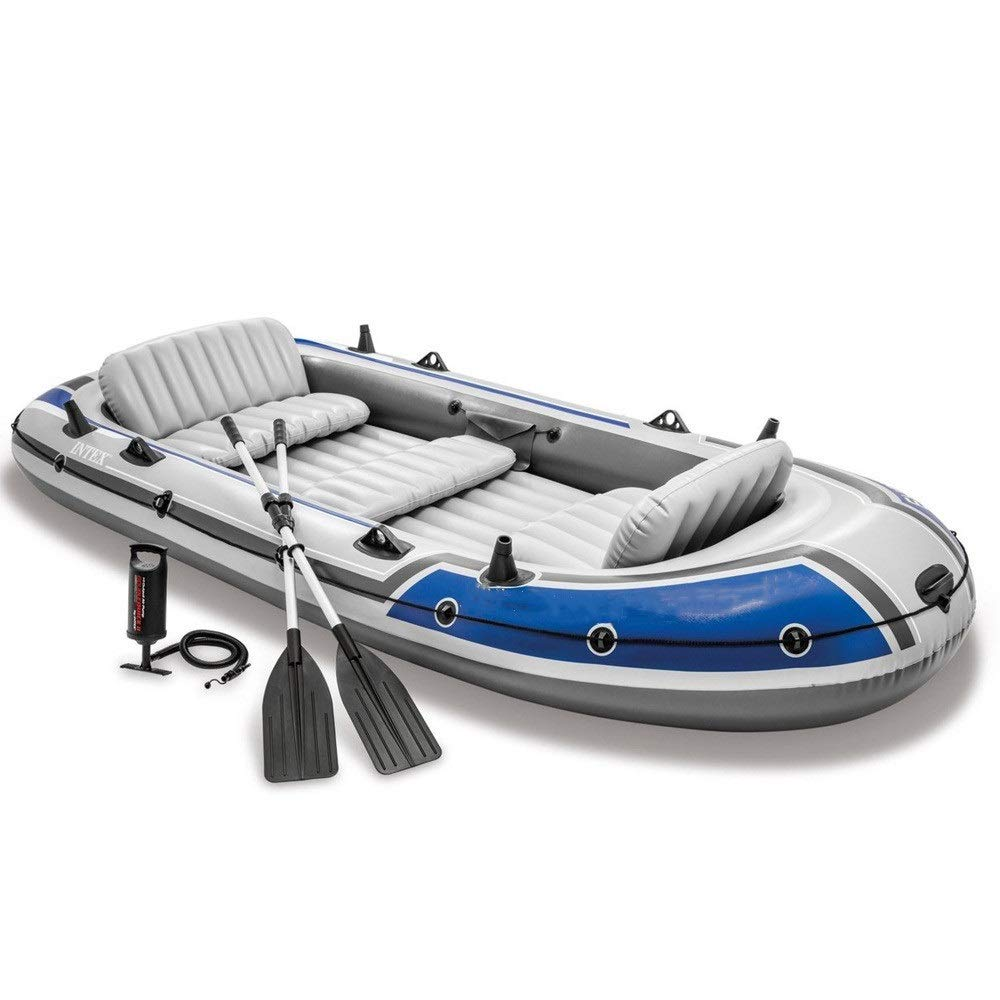 Durability Inflatable Kayaks Durable Lifeboat Fishing Boat Drifter Series Boat Group 5 People Inflatable Boat Rubber Boat (Color : Blue, Size : 366x168x43cm) by BoeWan