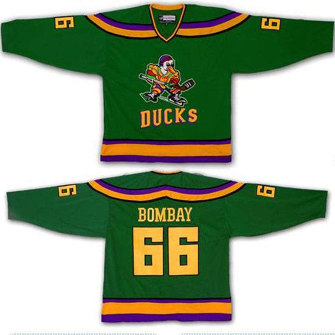 L XL,XXL Sewn M Mighty Ducks Movie Jersey 66 Bomboy Hockey Green Jersey S