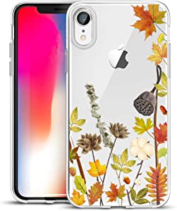 Unov Case Compatible with iPhone XR Case Clear with Design Slim Protective Soft TPU Bumper Embossed Pattern 6.1 Inch (Leaves Lyrics)