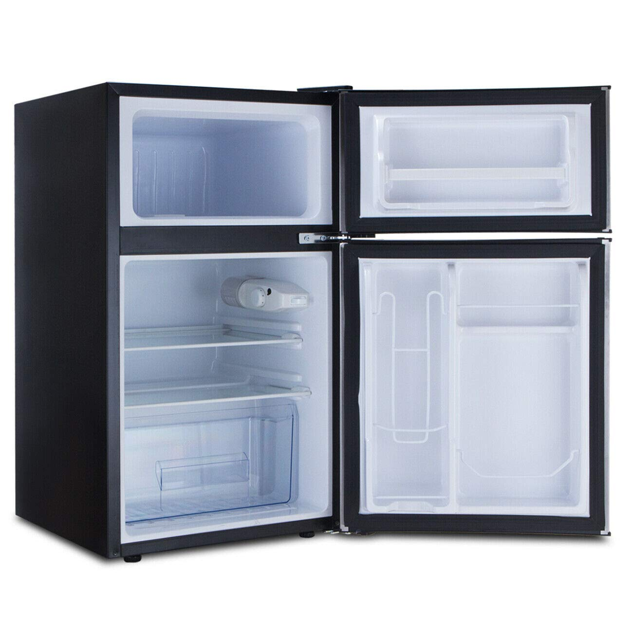 Ft Double Doors Compact Refrigerator Internal Freezer Cooler Small Mini Fridge Separate Freezer Compartment Large Capacity Ideal For Office Student Dormitories Wet Bars Apartments Condos 3.2 Cu