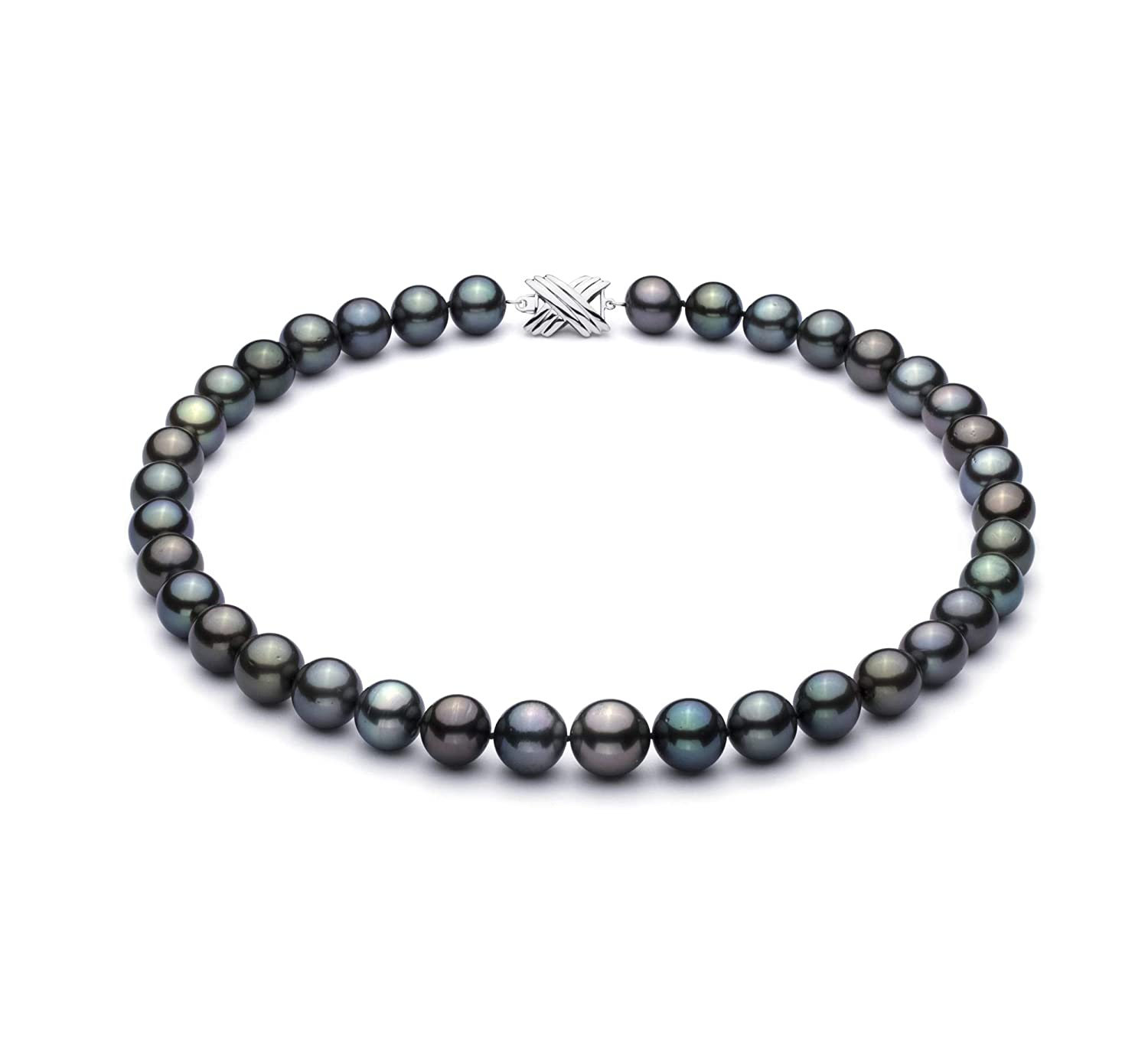 Quality Tahitian 14K White Gold Cultured Pearl Necklace For Women Multicolor 11.1-14.6mm AA