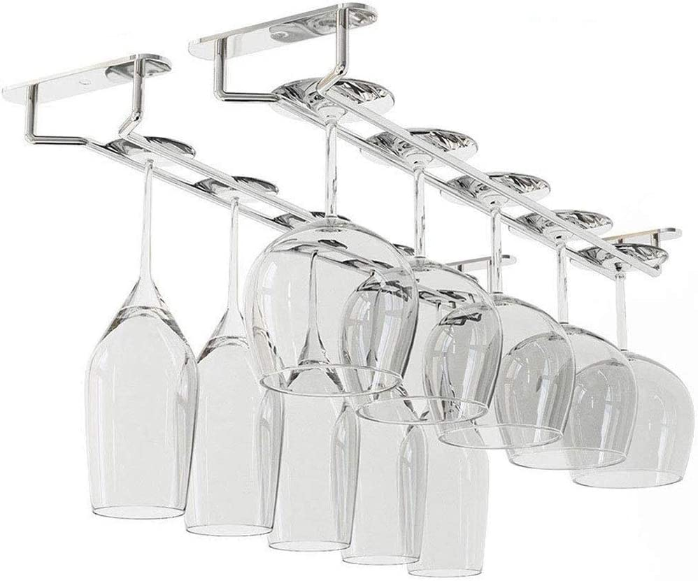 Soporte de estante de vino de copas de bronce de 35 cm debajo del estante del gabinete Colgador de copa de vino Riel colgante de almacenamiento para bar o cocina-Bronce