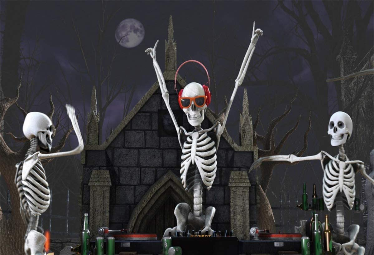 Yeele Funny Halloween Photography Backdrop Skeletons Playing Records in a Cemetery Photos Background 5x3ft Halloween Party Events Kids Acting Show Artistic Portrait Photoshoot Studio Props Wallpaper