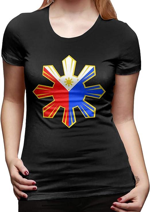 Camiseta de Manga Corta para Mujer, diseño de Bandera Filipina: Amazon.es: Ropa y accesorios
