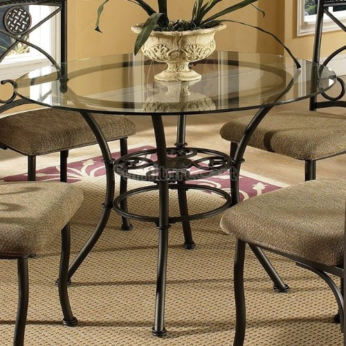 Steve Silver Company Brookfield Glass Top Dining Table, 42
