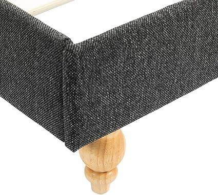 Festnight Tabouret de Rangement en Tissu Coffre de Rangement Repose-Pieds Rectangulaire Gris Fonc/é
