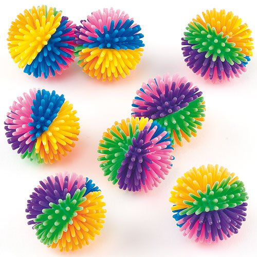 Childrens Toys Pack of 8 Prizes Children/'s Toys Baker Ross Rainbow Colored Hedgehog Balls Party Bag Fillers