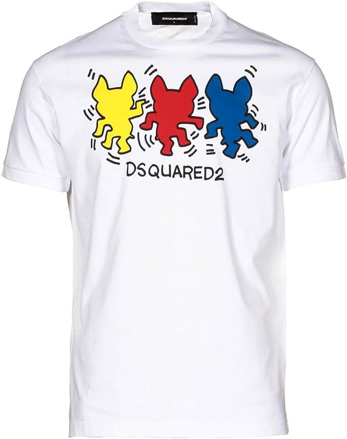 Diseño en forma de perro dance Dsquared camiseta para hombre de color blanco: Amazon.es: Ropa y accesorios