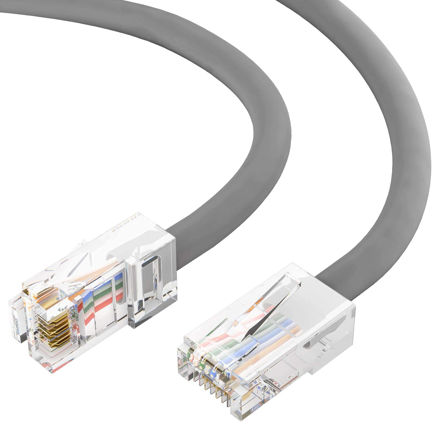 Cat5e Plenum Ethernet Cable Computer Network Cable with Bootless Connector 50 Feet - Gray GOWOS 5-Pack CMP Available in 28 Lengths and 10 Colors RJ45 10Gbps High Speed LAN Internet Cord