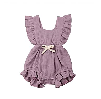 adec14ed3 Amazon.com: Newborn Baby Girl Romper, Baby Bodysuits Cotton Flutter Sleeve  One-Piece Romper Outfits Clothes: Clothing
