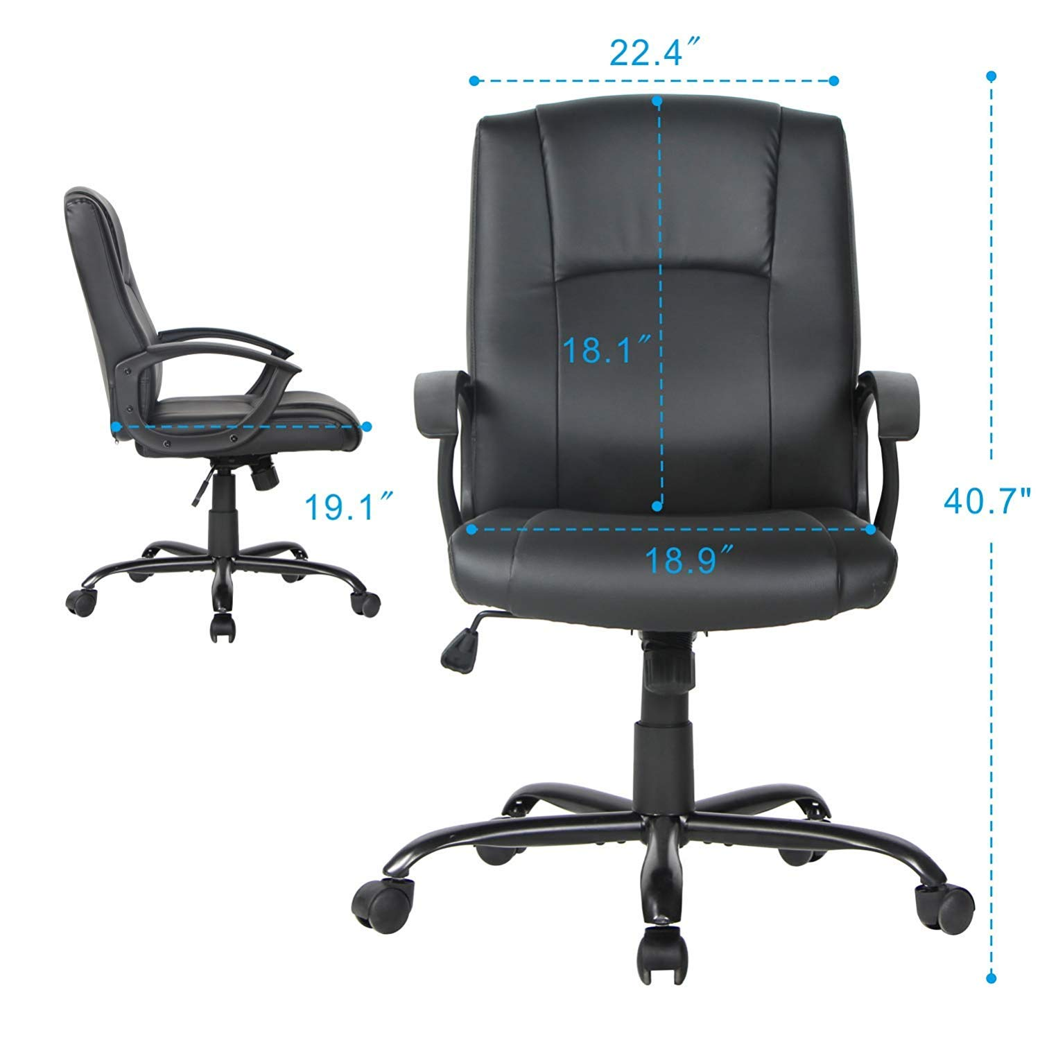Smugdesk Office Ergonomic Office Chair Executive Bonded Leather Computer Chair, Black by Smugdesk (Image #2)