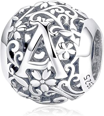 FOREVER QUEEN Letter Alphabet Charm AZ Initial Charm Beads 925 Sterling  Silver Letter Charms for Bracelets Necklace