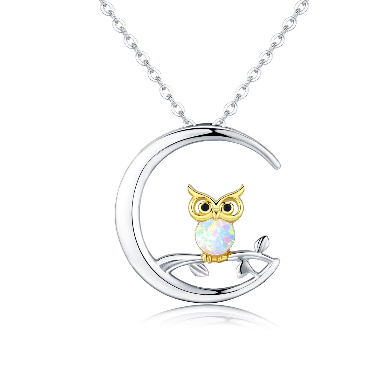 fcb16e1686183 Sterling Silver Owl On The Branch Cresent Moon Pendant Necklace Opal  Synthetic Gift Jewelry for Women Friend Sister