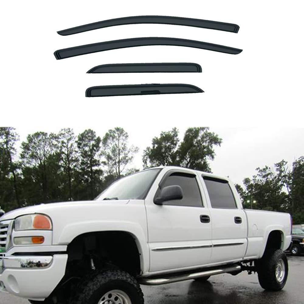 4pcs For 2014 2015 2016 2017 2018 Chevy Silverado//GMC Sierra 1500 2500 3500 HD Double cab//Extended cab Sun Rain Guard Vent Shade Deflectors Window Visors