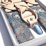 Four Seasons Men's Brocade Japanese Pattern Suspenders (1.3×36-51inch, black) (Deep Blue)
