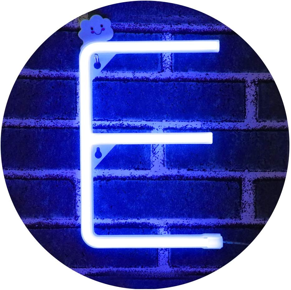 LED Neon Letter Light, USB Batteries Operated Marquee Letter Sign for Night Light Bright Lamp Words for Home, Hotel, Indoor Wall Decor-blue Letter E