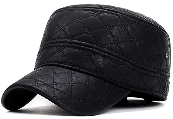 559d0491087 Yooeen Mens Winter Classic Army Cap Military Caps with Earflap Adjustable  Warmer Leather Waterproof Men s Flat
