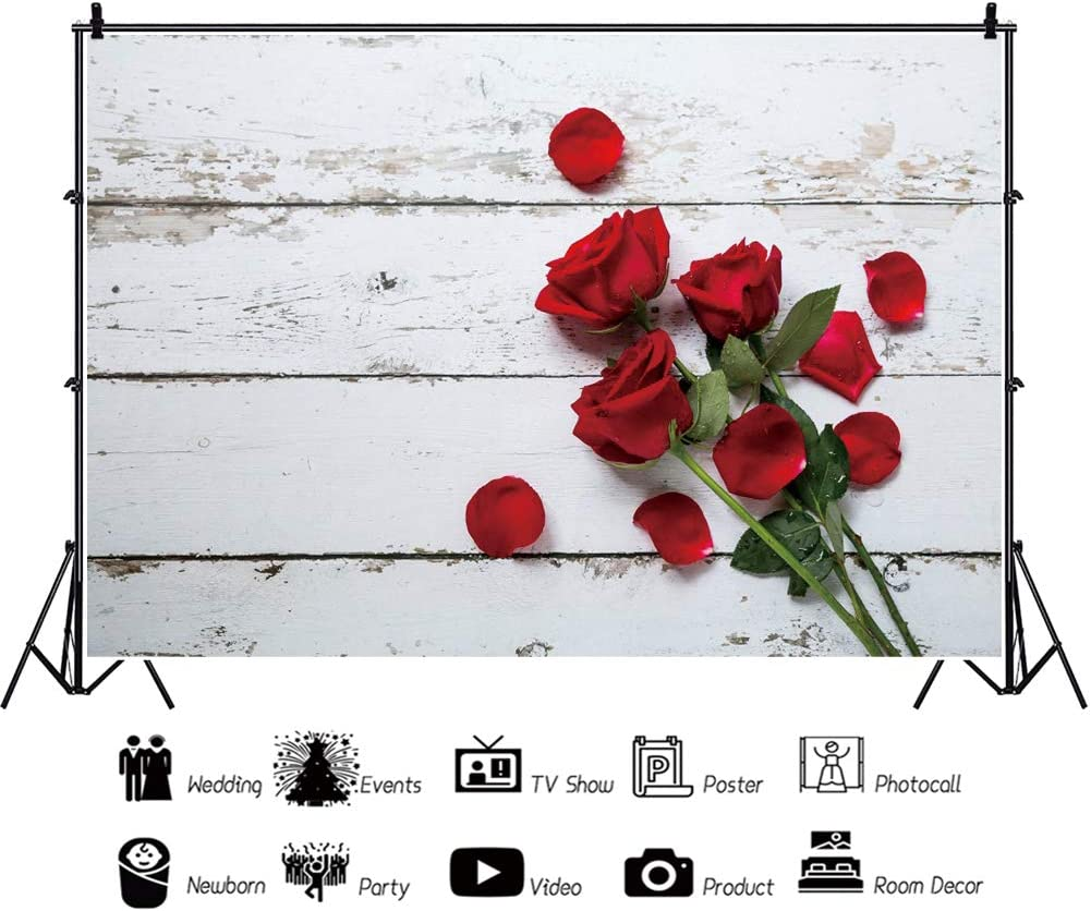 Haoyiyi 10x8ft Valentines Day Backdrop Red Rose Wood Wooden Floor Wall Rustic Photo Background Photography Newborn Baby Girl Kid Wedding Bridal Shower Birthday Party Booth Prop Decorations