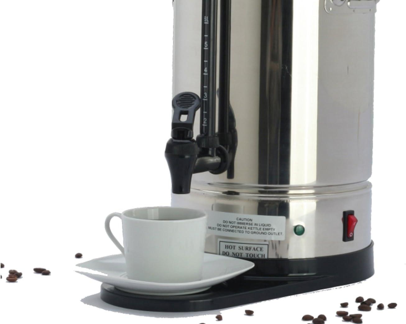 Cafetera eléctrica profesional de acero inoxidable, 6 litros, 2 sistemas de calefacción, 1150 vatios; KB06 GGG: Amazon.es: Hogar