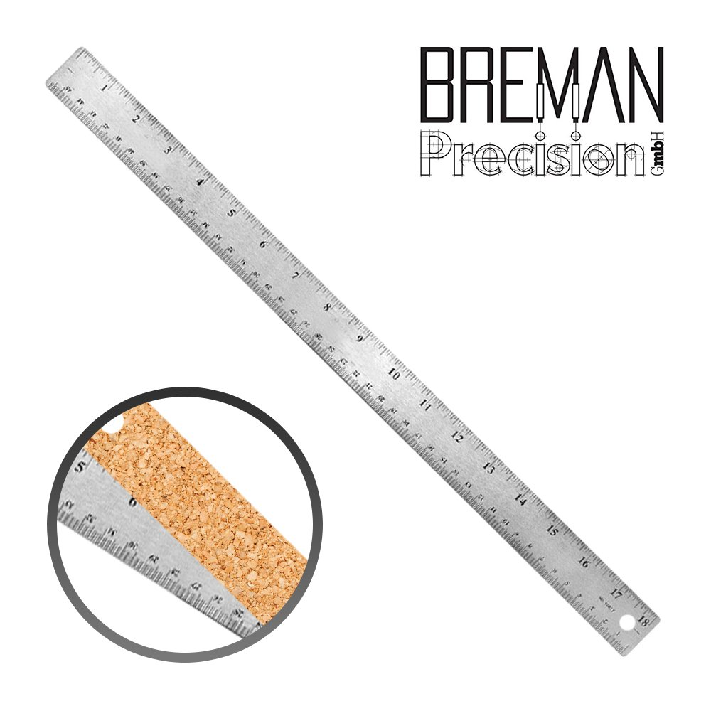 Breman Precision Stainless Steel Metal Rulers   Straight Edge Rulers with Inch and Metric Graduations for School Office Engineering Woodworking   Flexible with Non-Slip Cork Base (18'' Single) by Breman Precision