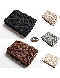 5-Packs Leg Warmers, Aisikasi Women's Fashion Leg Warmers Knitted Crochet Boot Socks