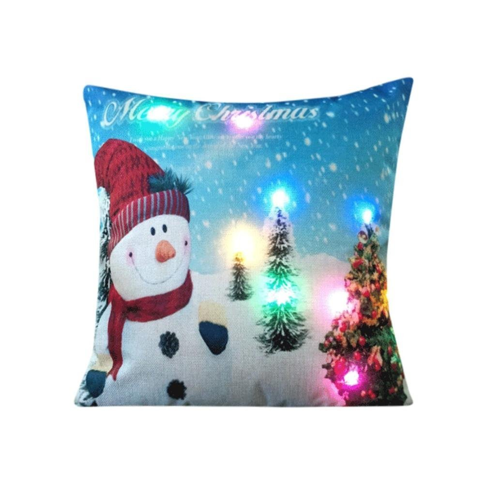 Christmas Pillowcase Throw Cushion Covers Mingfa Soft Creative LED Lights Printing Pillow Cover for Soft Bed Home (A) Mingfa.y BHBAUKHAZA787