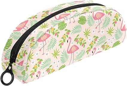 COOSUN Fruity Flamingo - Estuche para lápices, semicircular, bolígrafo, estuche para maquillaje, neceser para mujer y niña: Amazon.es: Oficina y papelería