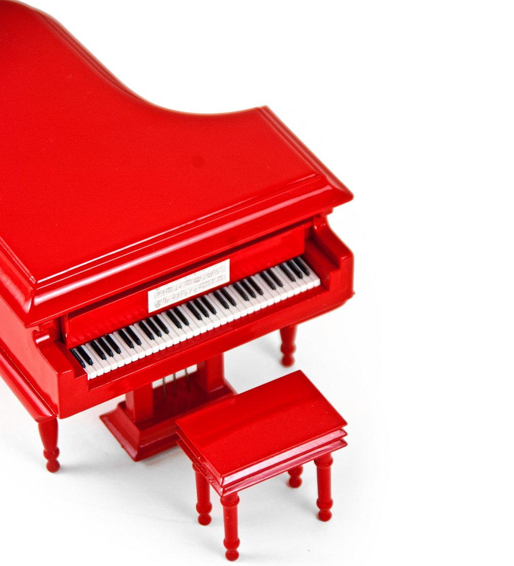 Sophisticated 18 Note Miniature Musical Hi-Gloss Fire Engine Red Grand Piano with Bench - Can You Feel the Love Tonight (The Lion King) - SWISS by MusicBoxAttic (Image #3)