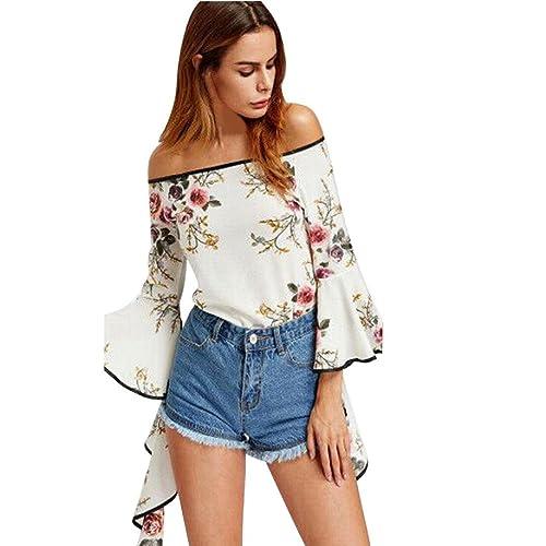 Mujer camisa de manga larga, Yannerr ocio impresión de moda de blusa tops de hombro