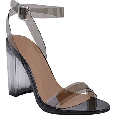 d8db761aed5 Fashion Thirsty Womens Perspex Block High Heels Clear Sandals Ankle Strappy  Size 5