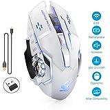 Salandens Ratón inalámbrico Recargable para Juegos, 2.4G USB LED Optical Silent Wireless gaming Mouse, Auto Sleeping…