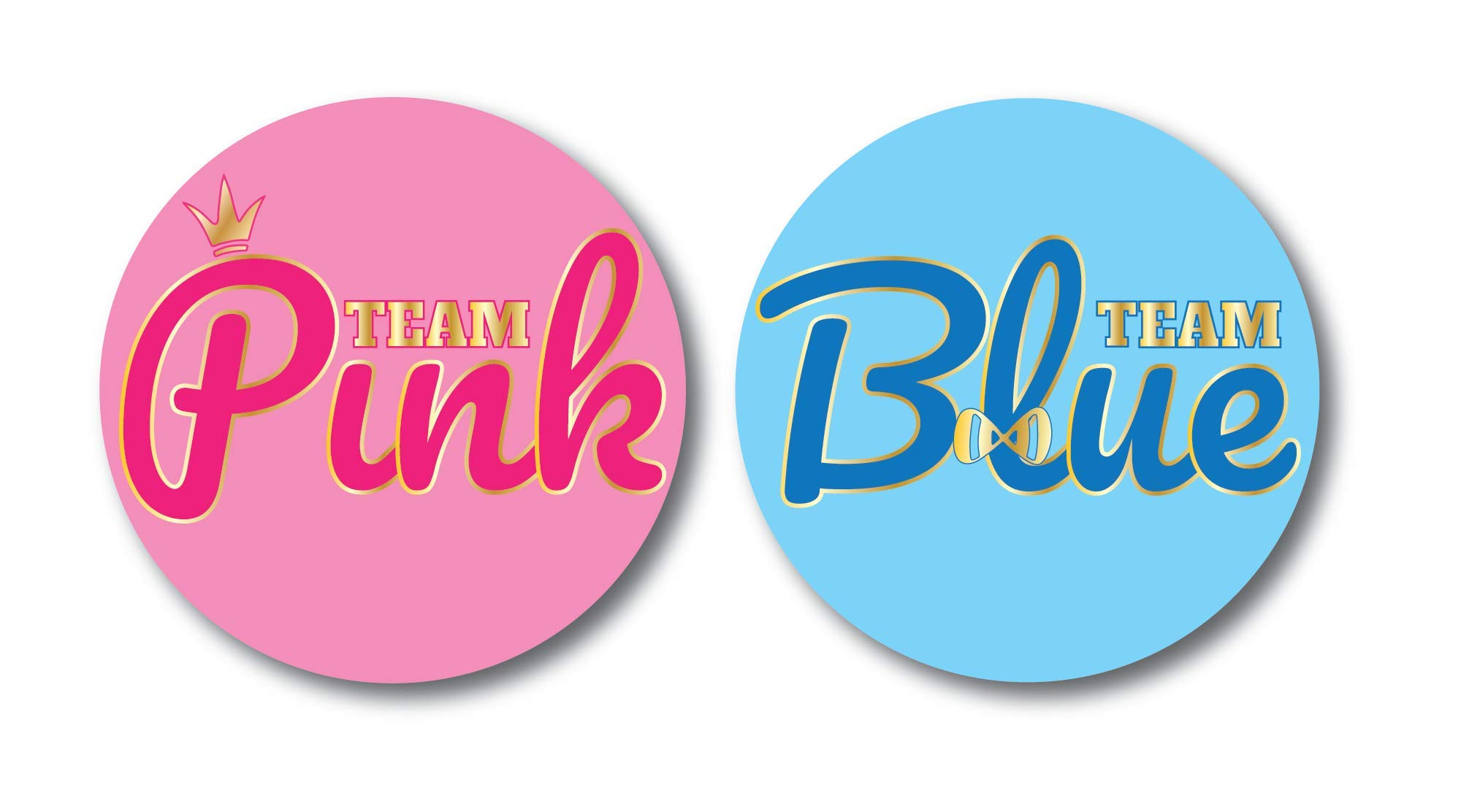 Gender Reveal Stickers | Team Blue and Team Pink | Baby Shower Stickers For Gender Reveal Party 4'' 20 Pack