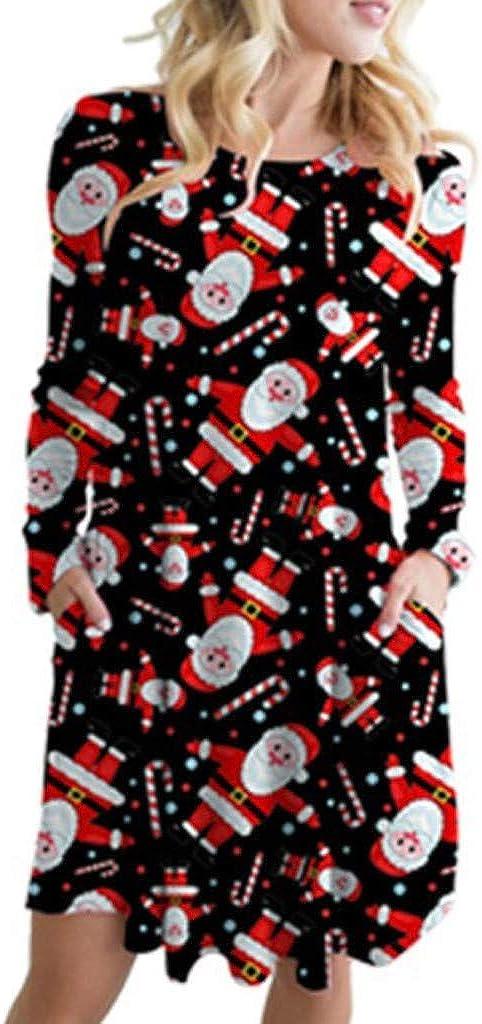 ZODOF Vestidos Mujer Navidad,Vestido Mujer De Fiesta,Mujer Otoño Tallas Grandes,Vintage Impresión Navideña Vestidos Manga Larga Dama's Vestidos de Moda Club