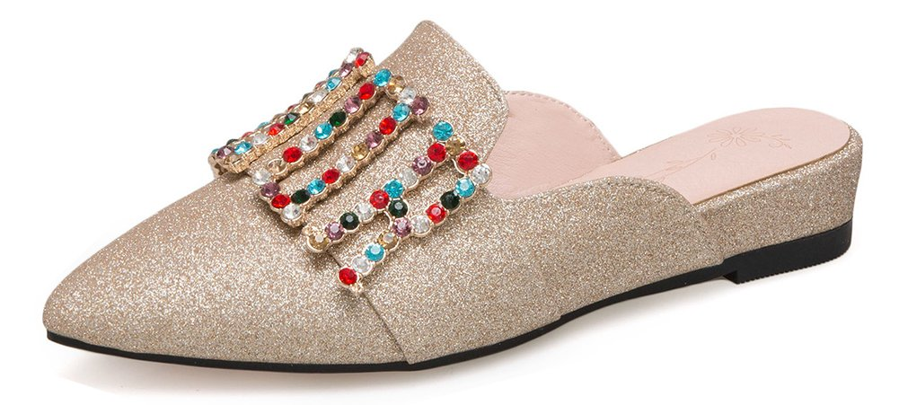 Aisun Femme Brillant Strass Aisun Multicolores Petit Talon Pointue Talon Pointue Bal Mules Or 1102d2b - epictionpvp.space