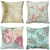 Emvency Set of 4 Throw Pillow Covers Shabby Chic Vintage Flowers Pink Antique Roses Floral Rose Habby Decorative Pillow Cases