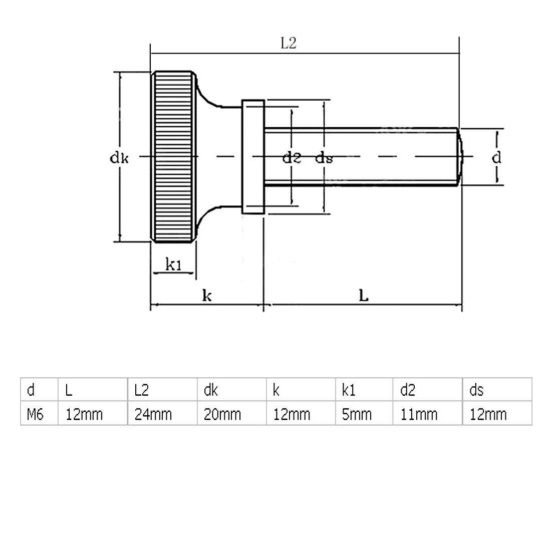 eDealMax a16050300ux0545 M6x12mm galvanizado métrica plana estriada cabeza tornillos de ajuste manual de la máquina Tornillos - - Amazon.com