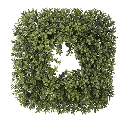 House of Silk Flowers Artificial Boxwood Square Wreath (S...