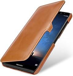 StilGut Housse pour Huawei Mate 10 Lite Book Type en Cuir à Ouverture latérale avec Fermeture clipsée, Cognac