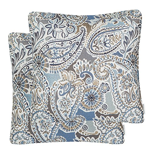 Mika Home Pack of 2 Decorative Accent Throw Pillow Cover Sham Cushion Case,Paisley Pattern,20x20 Inches,Blue Brown Cream Multicolor (Pillows Paisley Grey)