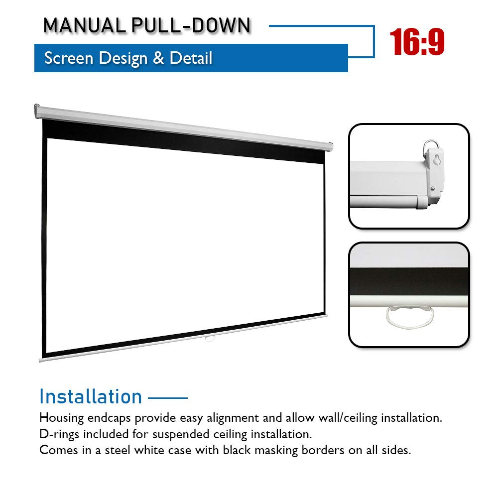 """Akia Screens Manual B 100/"""" 16:9 Manual Pull Down 8K 4K Ultra HD 3D Ready Movie Theater Home Theater Projector Screen with Slow Retract Mechanism AK-M100H1"""