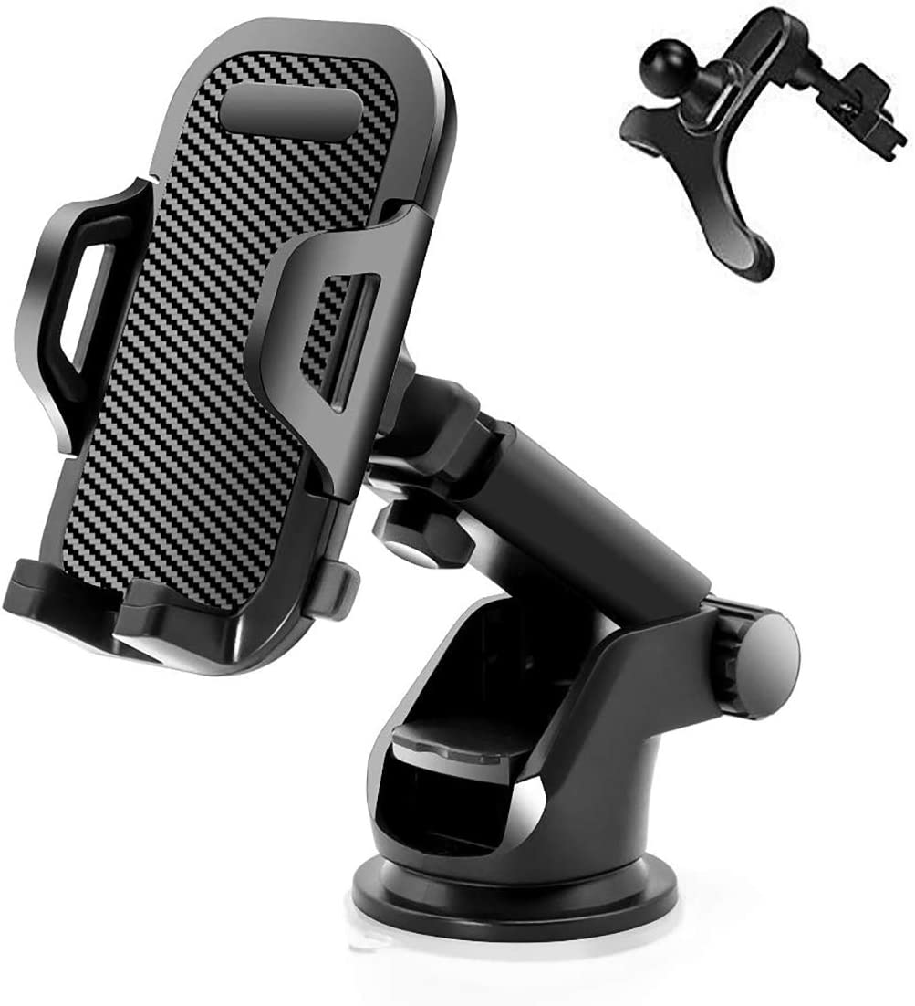 Universal Car Phone Mount Car Phone Holder for Car Dashboard Windshield Air Vent Long Arm Strong Suction Cell Phone Car Mount Compatible with iPhone 11 Pro X XS Max XR Galaxy Note10 S10 2020, Black