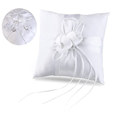 tinksky ring bearer pillow flower buds faux pearls decor wedding ring pillow with ribbons 10 inch10 - Wedding Ring Pillow