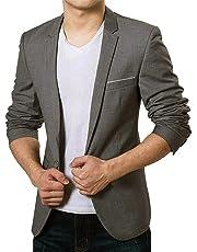 Vobaga Men's Slim Fit Stylish Casual One Button Suit Coat Jacket Business Blazers